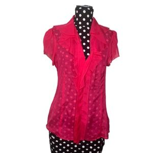 BCBGMaxAzria Hot Pink Sheer Ruffle Blouse Small